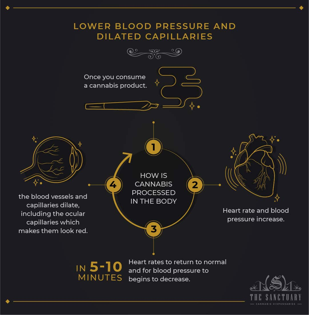 Lower blood pressure and dilated capillaries